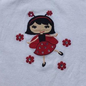 Gymboree White Tee Shirt Lady Bug Girl Red
